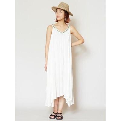 【チャイハネ】 yul ビーズ刺繍ロングキャミワンピース IDS-0409 レディース ホワイト Free CAYHANE