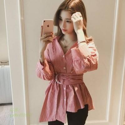 ウエストベルト シャツ ブラウス デート オシャレ カジュアル ママファッション かわいい ウエストマーク おしゃれ ストライプ プチプラ フェミニン おでかけ