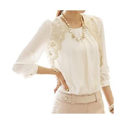[ココチエ] ブラウス シフォン 刺繍 バルーン袖 立衿 スタンドカラー コーラス 長袖 (2XL)