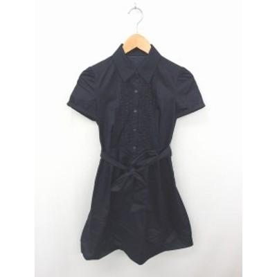 【中古】エフデ ef-de ワンピース シャツ ひざ丈 ステンカラー ウエストリボン 綿 コットン 半袖 7 紺 ネイビー