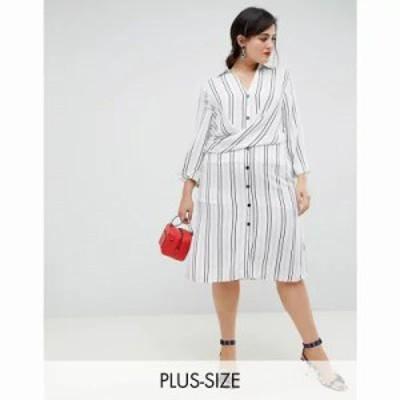 リバーアイランド ワンピース wrap front shirt dress in stripe Ivory stripe