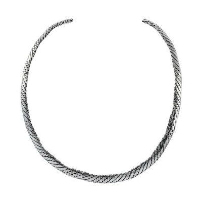 Sterling Silver Collar Necklace Choker Twisted Rope Wire Handmade 5 1/