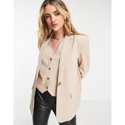 オブジェクト Object レディース スーツ・ジャケット アウター co-ord blazer with pocket detail in beige ベージュ