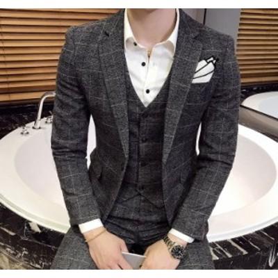 人気モデル  3点セットアップ  紳士服  チェック柄 結婚式 二次会 おしゃれ スーツセットアップ  イギリス風  高級品