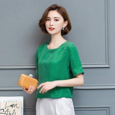 Tシャツ レディース 半袖 安い おしゃれ 韓国風 夏 40代 きれいめ トップス 半袖tシャツ 丸襟 無地 カジュアル 体型カバー 大きいサイズ
