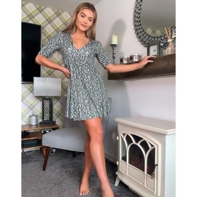 ミスセルフフリッジ レディース ワンピース トップス Miss Selfridge mini tea dress with v-neck in ditsy print