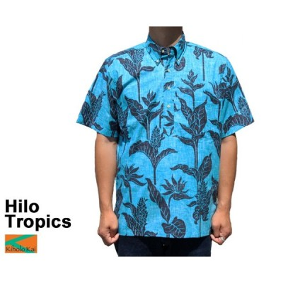 Kiholo Kai キホロカイ アロハシャツ ヒロトロピクス Hilo Tropics フルオープン プルオーバー ハワイ製 青 ブルー