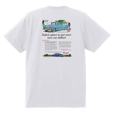 アドバタイジング フォード Tシャツ 白 1013 黒地へ変更可 1954 サンライナー スカイライナー ランチワゴン ビクトリア オールディーズ