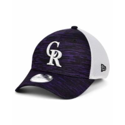 ニューエラ メンズ 帽子 アクセサリー Colorado Rockies English Knit Neo 39THIRTY Cap Black/White