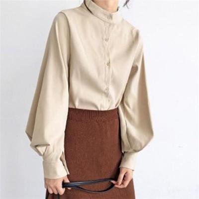 送料無料 の新作ファッション スタンドカラーパフスリーブ シャツ ブラウス トップス