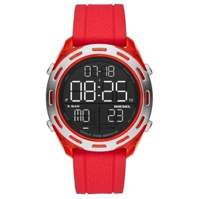 ディーゼル 腕時計 アクセサリー メンズ Men's Digital Crusher Red Silicone Strap Watch 46mm Red