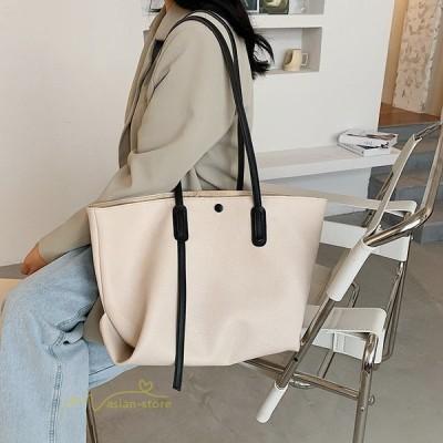 ショルダーバッグ バッグ 肩掛け 手提げかばん レディースファッション PUレザーバッグ カジュアル たっぷり収納 シンブル 鞄 大容量 買い物 全5色