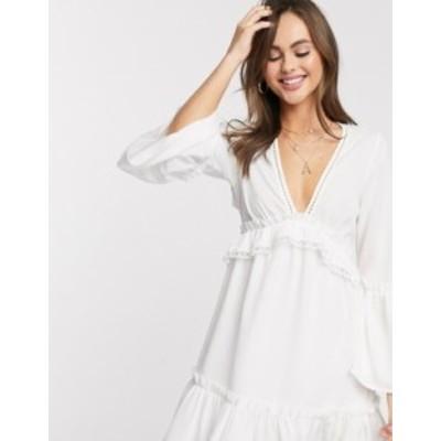 エイソス レディース ワンピース トップス ASOS DESIGN fluted sleeve open back skater mini dress with lace inserts in white White