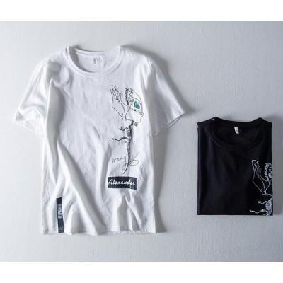 メンズ新作Tシャツ カットソー 半袖トップス カジュアル ゆったり おしゃれ 丸首