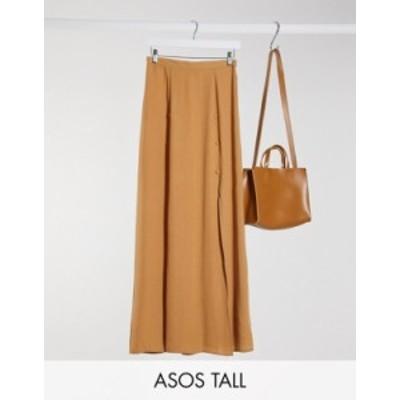 エイソス レディース スカート ボトムス ASOS DESIGN Tall double split maxi skirt in camel Camel