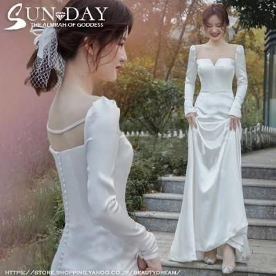 新品ウェディングドレス ウエディングドレス白 パーティー 袖あり 花嫁ロングドレス 結婚式 トレーンライン 二次会 フォームドレス お呼ばれ 挙式hs6307