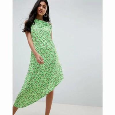 エイソス ワンピース ASOS DESIGN ditsy print midi dress with button detail Ditsy print
