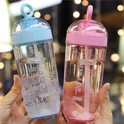 ストロー付きコップの女子学生韓国版原宿の水コップのアイデアの潮流携帯カップ