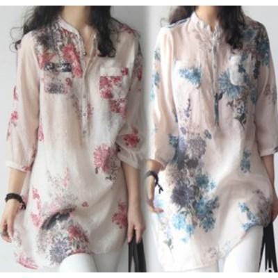 シャツ ブラウス トップス 花柄 長袖 お洒落 きれいめ 大人 可愛い 上品 シンプル 体型カバー デート フェミニン エレガント 10代 20代
