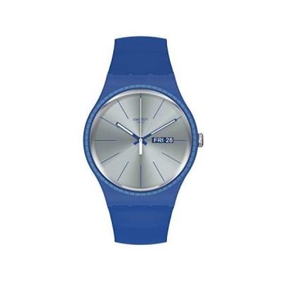 腕時計 スウォッチ メンズ SUON714 Swatch Quartz Silicone Strap, Blue, 20 Casual Watch (Model: SUON71