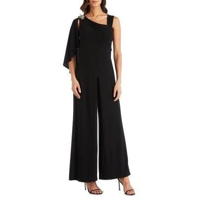 アールアンドエムリチャーズ レディース ワンピース トップス Asymmetrical Neck Embellished Shoulder Detail Draped Sleeve Knit Wide Leg Jumpsuit Black