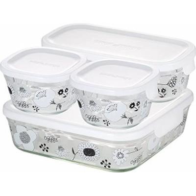 iwaki(イワキ) 耐熱ガラス 保存容器 シンジカトウ BLOMMA 4個セット パック&レンジ PS-PRNSND41