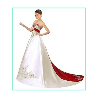 APXPF Women's Satin Embroidery Wedding Dress with Cathedral Train Ivory and Red US2並行輸入品