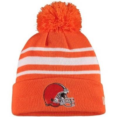ニューエラ メンズ 帽子 アクセサリー Cleveland Browns New Era Basic Stripe Cuffed Pom Knit Hat Orange