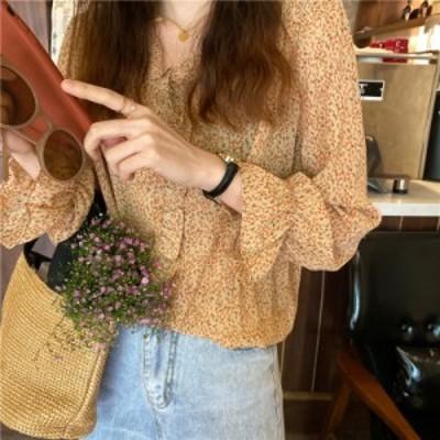 小花柄デザインの長袖ブラウス コンサバ系 大人可愛い きれいめ Vネック フリル こなれ感 春 お出かけ