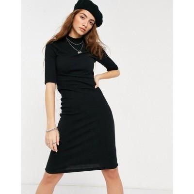 オンリー レディース ワンピース トップス Only midi dress with high neck and 3/4 length sleeves in black Black