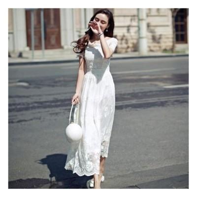 ワンピースドレスロングレースアンティーク白エレガントエレガント大かわいい半袖フレア韓国パーティードレス20代30代40代