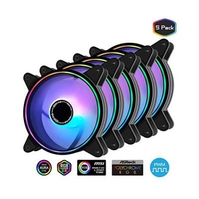 Easydiy 120mm 月光タイプケースファン,PWM対応 ファン,アドレサブル RGB 調節機能搭載 静音pwmタイプ,ファンハブ付き