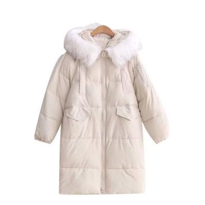 冬用 中綿ジャケット レディース 防寒着 厚手 ファーフード付き 綿服 冬 中綿入り コート ロング丈 アウター 冬物 あったか 防寒防風 無地