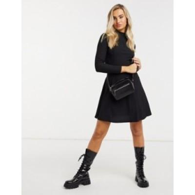 ニュールック レディース ワンピース トップス New Look high-neck mini dress in black Black