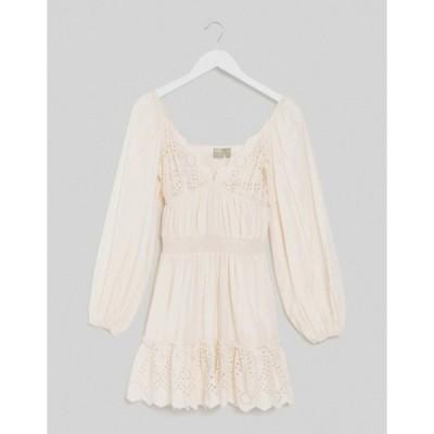 エイソス レディース ワンピース トップス ASOS DESIGN sweetheart broderie mini dress with elasticated waist and long sleeves in cream