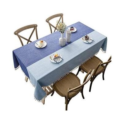 CHOZAN テーブルクロス コットンリネン材質 耐用 肌触り良い タッセルエッジ おしゃれ 汚れ防止 (ブルー ステッチ 90*140cm)