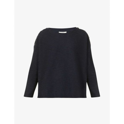 セッスン SESSUN レディース ニット・セーター トップス Austin button-embellished cotton-blend knitted jumper NAVY