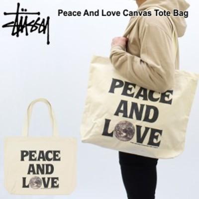 ステューシー(STUSSY)Peace And Love Canvas Tote Bag キャンバストートバッグ/エコバッグ レッスンバッグ【25】 [BB]