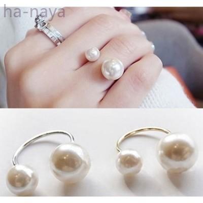 指輪リングプチプラパールシルバーアクセサリーレディースフリーサイズWパールリング結婚式2次会パーティ指輪リング