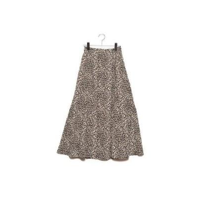 スタイルブロック STYLEBLOCK ポプリンレオパード柄マーメイドスカート (ベージュ)