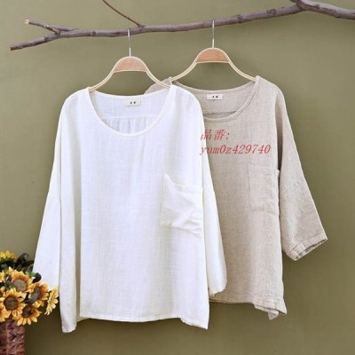 リネン ブラウス レディース 綿麻 体型カバー シャツ ゆったり Aライン トップス 大きいサイズ