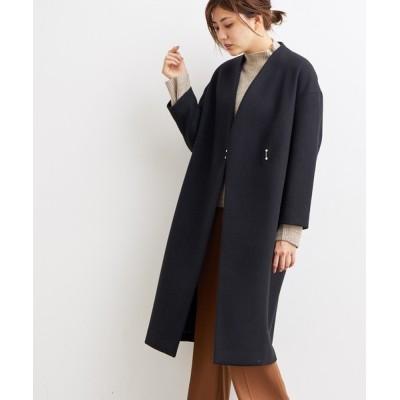 ViS / 【WEB限定】二重織メルトンVネックコート WOMEN ジャケット/アウター > ノーカラージャケット