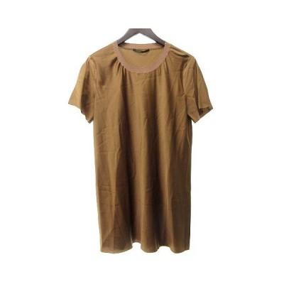 【中古】アニオナ AGNONA シルク カットソー Tシャツ 半袖 クルーネック 光沢 上品 茶 ブラウン 42 L位 1218 RRR レディース 【ベクトル 古着】