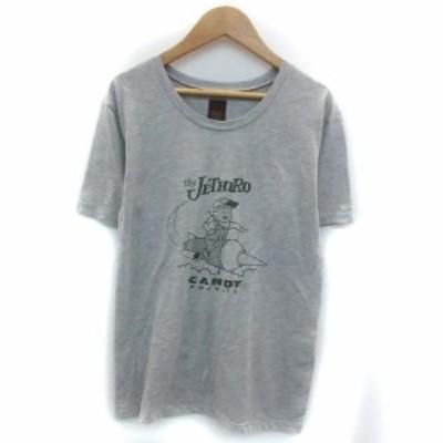 【中古】アングリッド UNGRID Tシャツ カットソー 半袖 ラウンドネック プリント F グレー /YM20 レディース