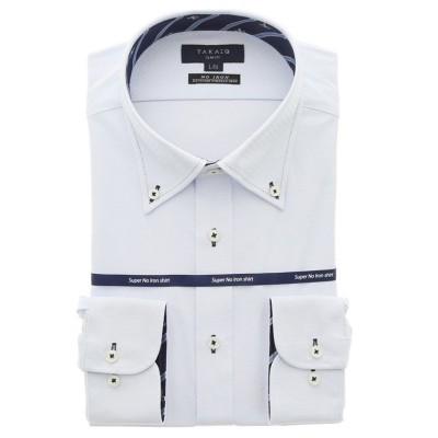 【タカキュー】 ノーアイロンストレッチ スリムフィットボタンダウン長袖ニットビジネスドレスシャツ/ワイシャツ メンズ サックス L:41-86 TAKA-Q