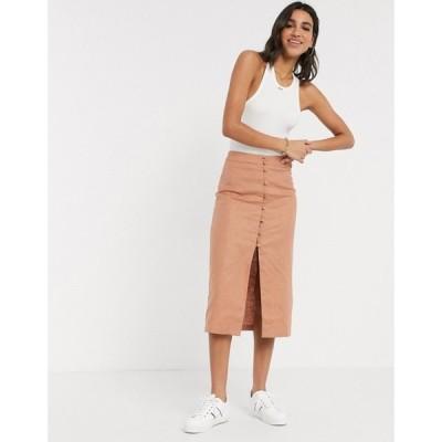 エイソス ASOS DESIGN レディース ひざ丈スカート スカート splendid linen button through midi skirt ブラウン