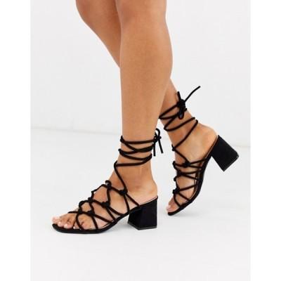 パブリックデザイア レディース サンダル シューズ Public Desire Freya Black Mid Heeled Sandals