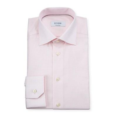 エトン メンズ シャツ トップス Men's Contemporary Fit Grid-Check Dress Shirt