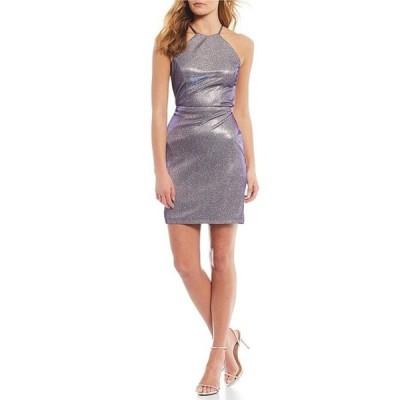 モルガン レディース ワンピース トップス High-Neck Shimmer Knit Bodycon Dress
