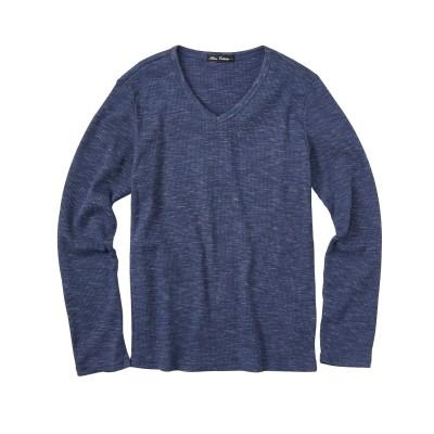 杢調ワッフルVネック長袖Tシャツ(細身設計) Tシャツ・カットソー, T-shirts,